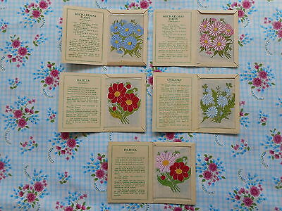 Five pretty vintage Kensitas embroidered fabric silk flowers (medium) with cards