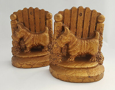 Scotty dog terrier gold-finished Syroco resin bookends - great gift