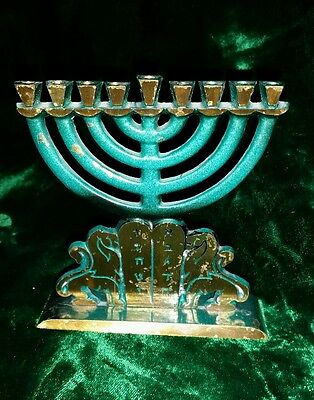 """Vintage Brass Menorah Turquoise 9 Candle Lions 4 1/2"""""""