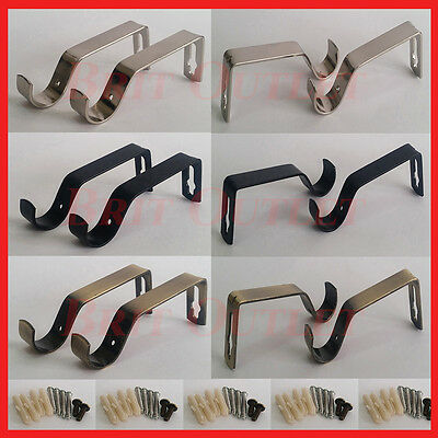 New Brass Black White & Silver Metal Curtain Pole Wall Bracket Fixing Rod Holder