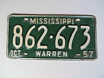 1957 Warren County Mississippi License Plate #862-673 Passenger Chevy  Man Cave