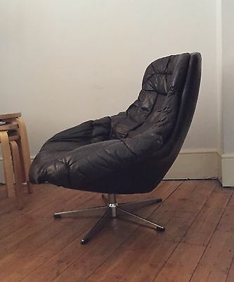 Vintage Danish Brown Leather Armchair By H W Klein For Bramin Retro 50s 60s 70s