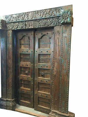 Antique Doors Chakra Vastu Floral Patina Temple Haveli Hand Carved Double Door