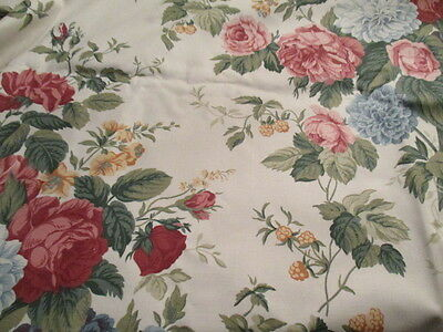 Quality Unused Vintage Furnishing Fabric  Traditional Roses. 3.1 metres