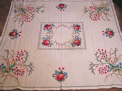 Vintage Tablecloth Unusual Needlework Floral Very Colorful Pink Blue Ylw Green