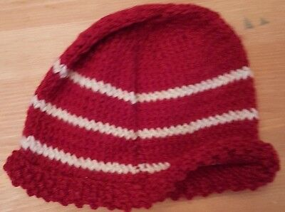 Worn Child's Woolly Hat. red with white stripes - 0-6 mths