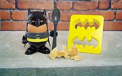 Fun Breakfast Official DC Batman Eggs Topper, Egg Cup and Toast Cutter - Boxed