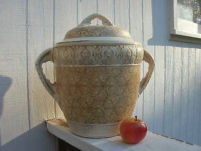 Very Large Old Antique Pottery Urn Jar Transferware Gold Gilt 19th C Aesthetic?