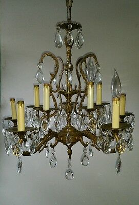 Vintage Antique Brass Bronze Crystal Spain Chandelier 10 Lights Lamp