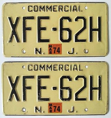 New Jersey 1974 Commercial License Plate Pair, Truck Automobilia Sign, XFE-62H