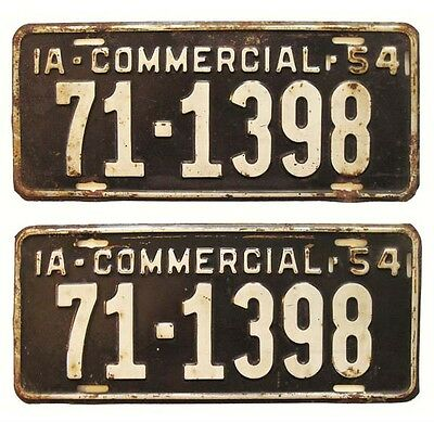 Iowa 1954 Truck License Plates PAIR, O'Brien County, for Ford, Chevy, GMC, Dodge