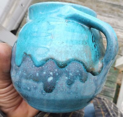 North State Pottery 2 Blue's Thick Drip Glaze Medicine Pot,Carolina