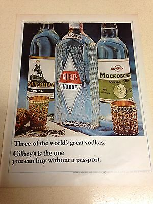 "1966 LARGE Vintage Gilbey's Vodka Ad 10""X13"""