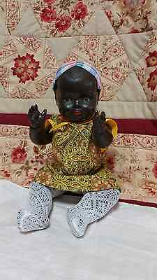 """1930s RARE CELLULOID 14"""" AA black Brown Antique Vintage 36cm Doll Unmarked & Tlc"""