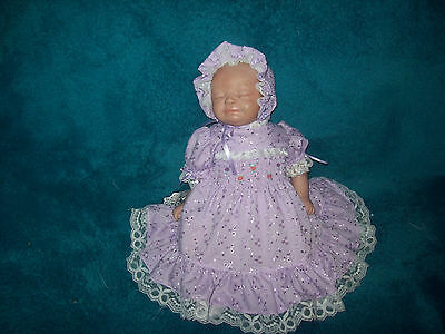 Reborn dolls clothes MAUVE  BRODERIE ANGLAISE DRESS SET    19-20 inches