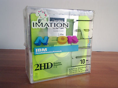 "10 x Imation Sealed NEON Rainbow 1.44MB 3.5"" Floppy Disks Discs IBM Formated NEW"