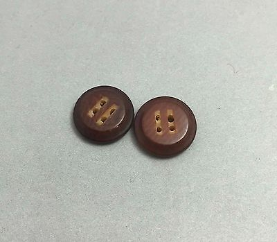Set of 2 Vintage Vegetable Ivory Buttons - Brown 4 Hole