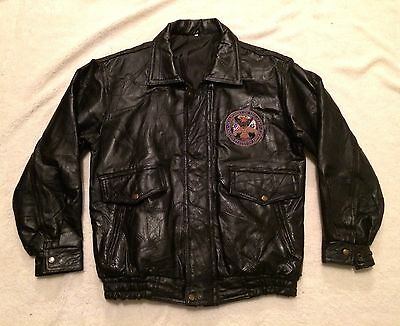 Department Of The Army USA Small S Black Leather Jacket Armed Forces Military