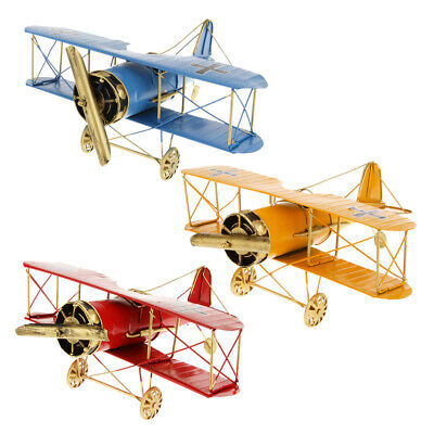Vintage Tin Flying Biplane Airplane Military Aircraft Decor Play Toy AS YOU WISH
