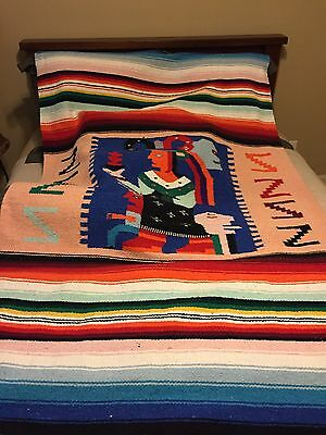 """Vintage Southwest Figural Aztec Large Mexican Blanket Double Sided 49"""" X 80"""""""