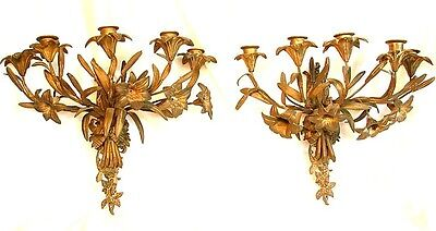 ANTIQUE FRENCH SCONCES *BRONZE FLORAL 5 LIGHT* LARGE c.1850