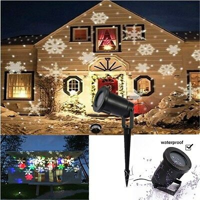 In/Outdoor Moving Snowflake Landscape Laser Projector Lamp Xmas Garden LED Light