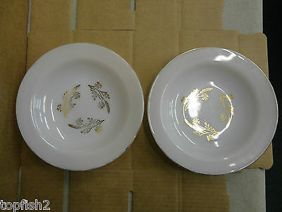"Federal Glass 8"" Soup Bowls, Gold Print/Gold Trim, 2 Count (Used/EUC/Vintage)"