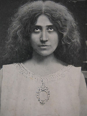 """Vintage Italian Weird Woman Rolled Eyes Witchy Hair """"Artistic Study"""" Postcard"""