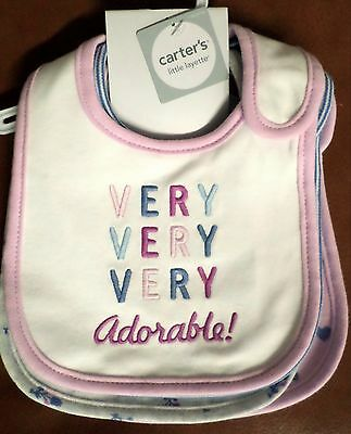 Carter's Baby Girls Teething Bibs Set of 4 Very Adorable/Flowers Cotton One Size