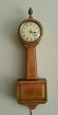 Vintage TREND Mahogany Walnut Grandpa Clock Zeeland Michigan Pineapple Finial