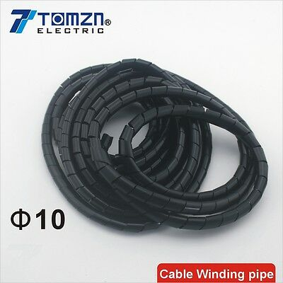 Flame retardant Black spiral bands diameter 10mm About 7M Cable Winding pipe