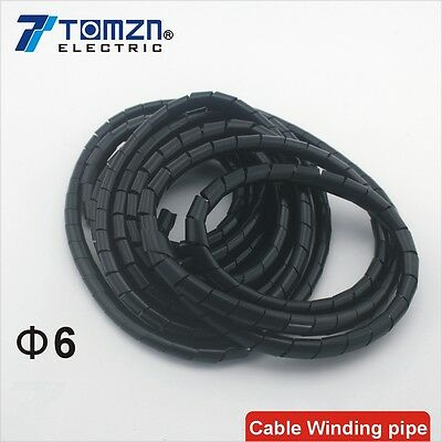 Flame retardant Black spiral bands diameter 6mm About 14M Cable Winding pipe