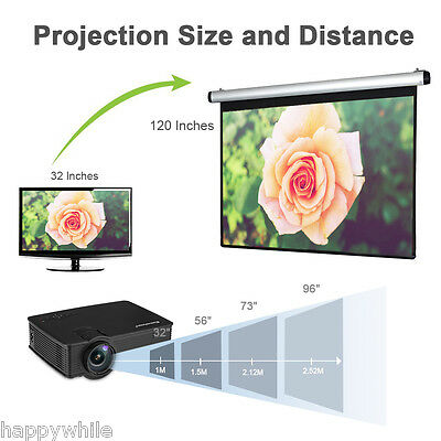 1200Lumens Mini HD LED Projector HDMI USB SD AV Music Photo Video Home Theater