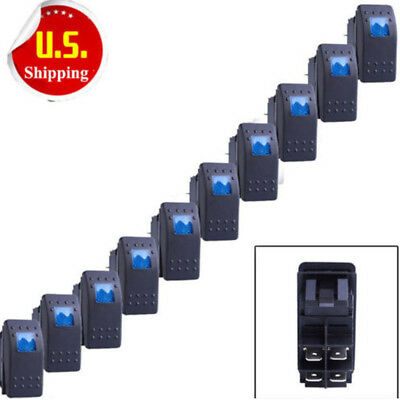 10 X Waterproof Marine Boat Car Rocker Switch 12V SPST ON-OFF 4PIN 4P Blue LED