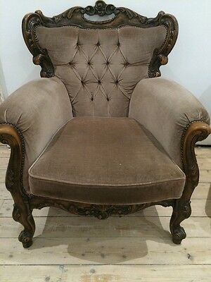 Louis French Italian Carved Antique Armchair