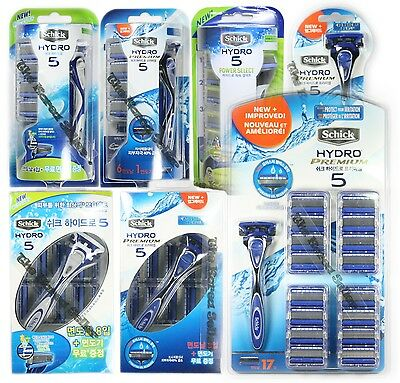 SCHICK HYDRO 5 Package Razor +1/6/8/16 Refill Cartridges (Premium/ Power Select)