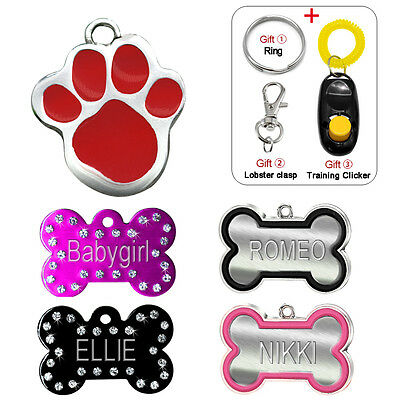 Engraved Dog Tags for Pets Cat ID Tag Personalised Name FREE Paw Bone Shape S L