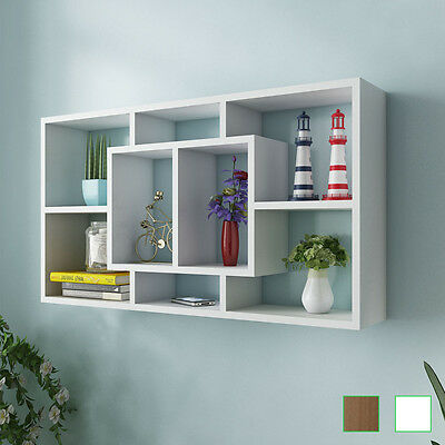Floating Wall Storage Display Cabinet Unit Cubes Shelves 8 Compartment White/Oak
