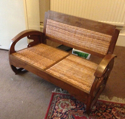 Antique Art Deco Cane Settee