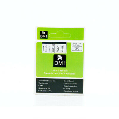 1PK Compatible for Dymo D1 Tape 40913 Black on White 9mm x 7M Label Cassette