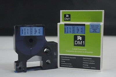 1PK Black on Blue Tape Label Compatible for DYMO D1 40916 9mm 3/8""