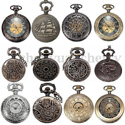 Vintage Metal Steampunk Engraved Windup Mechanical Pocket Watch With Chain