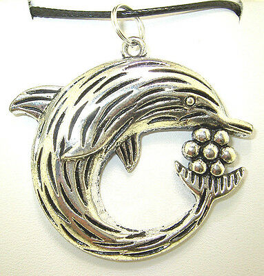 """New  Large  Beautiful  3-D  DOLPHIN  Silver-tone Pendant  18"""" - 20"""" Necklace"""