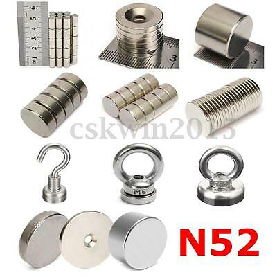 Neodymium Magnets Rare Earth NdFeB N52 Disk Ring Strong Craft Nickel Plating