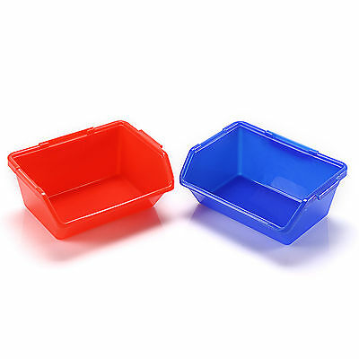 Red/Blue Open Fronted Storage Bins Plastic Parts Picking Workshop Tool Box Small