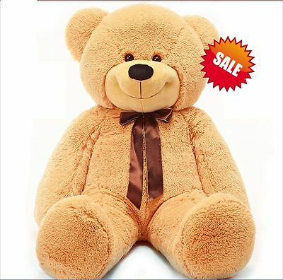 120cm Tall Giant Huge Stuffed Teddy Bears Plush Doll Great Gift Light Brown