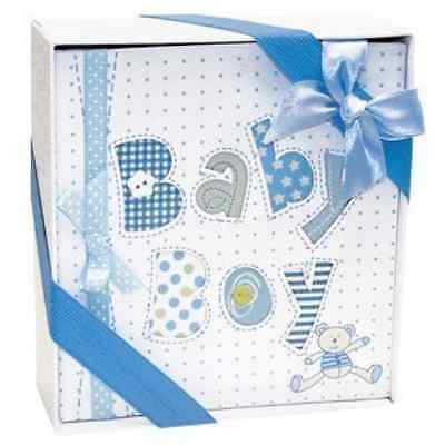 Occasions Gift Giving White and Blue Baby Boy Photo Album-4x6 Photos