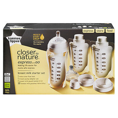 NEW Tommee Tippee Closer To Nature Express & Go Starter Kit Small
