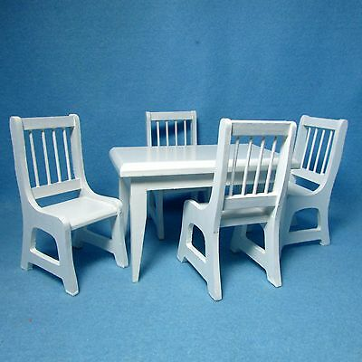 Dollhouse Miniature Kitchen Dining Room Chair in White with Red Seats T5007