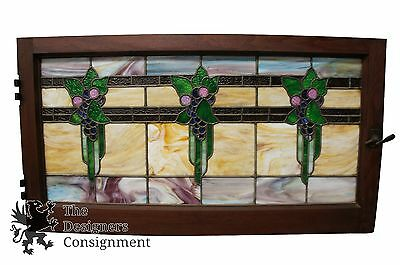 Early 20th Century Leaded Slag Glass Stained Window Panel Architectural Salvage